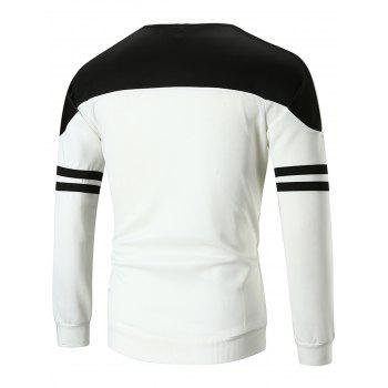 Crew Neck Color Block Stripe Print T-shirt - WHITE L