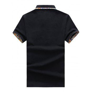 Short Sleeve Floral Splicing Slimming Polo Shirt - BLACK 3XL