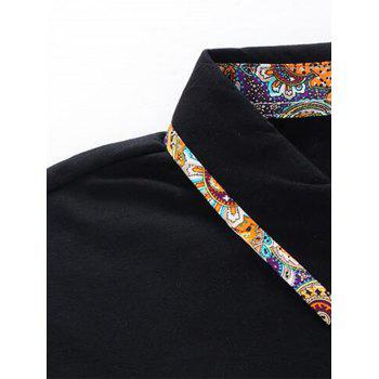 Short Sleeve Floral Splicing Slimming Polo Shirt - BLACK 5XL