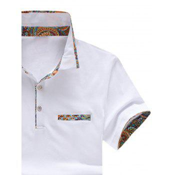 Short Sleeve Floral Splicing Slimming Polo Shirt - WHITE 5XL