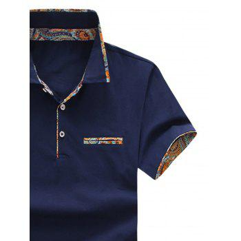 Short Sleeve Floral Splicing Slimming Polo Shirt - DARK SLATE BLUE 4XL