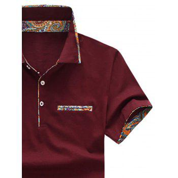Short Sleeve Floral Splicing Slimming Polo Shirt - RED WINE 3XL