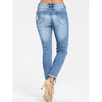 Frayed Knee Distressed Skinny Jeans - DENIM BLUE L