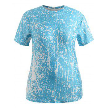 Plus Size 3D Lip Splash Painting Tee - DAY SKY BLUE 3X