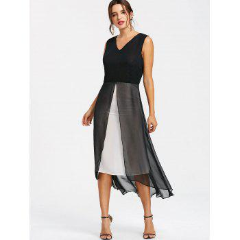 Monochrome V Neck A Line Dress - BLACK M