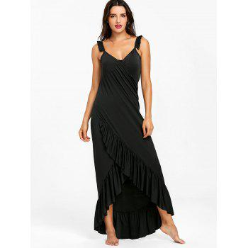Wrap Flounce Beach Cover Up Dress - BLACK S