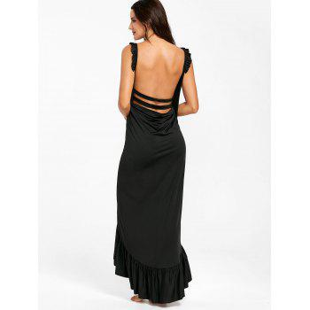 Wrap Flounce Beach Cover Up Dress - BLACK XL