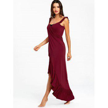 Wrap Flounce Beach Cover Up Dress - RED WINE S