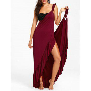 Wrap Flounce Beach Cover Up Dress