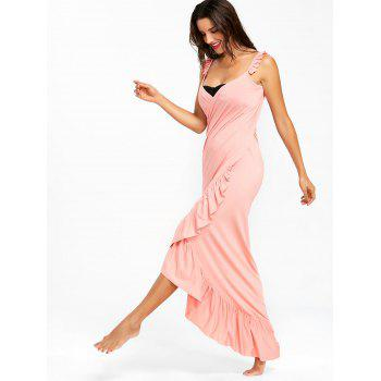 Wrap Flounce Beach Cover Up Dress - LIGHT PINK L
