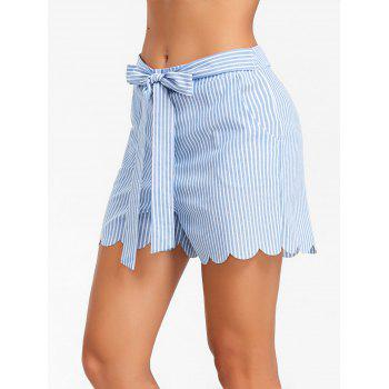 Bowknot Scalloped High Rise Shorts - SKY BLUE S