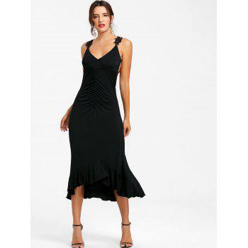 Lace Insert Flounce Open Back Evening Dress - BLACK XL