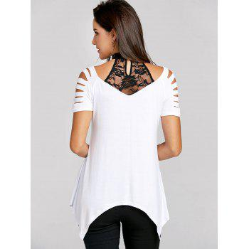 Two Tone Shredding Cut T-shirt - WHITE/BLACK L