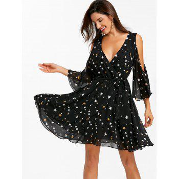 Plunge Open Shoulder Star Print Mini Dress - BLACK 2XL