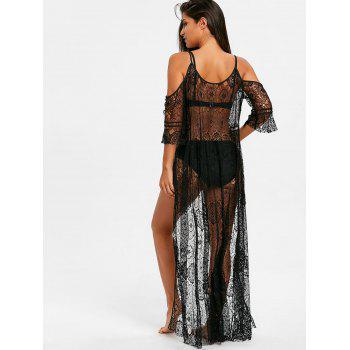 Open Front Maxi Lace Cover Up - BLACK XL