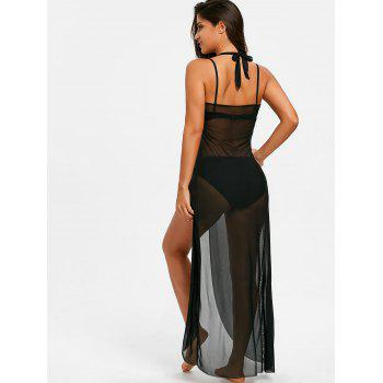 Sleeveless Maxi Cover Up Dress with Hoop - BLACK M
