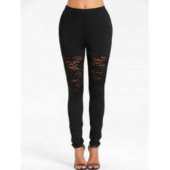 High Rise Lace Insert Skinny Pants - BLACK XL