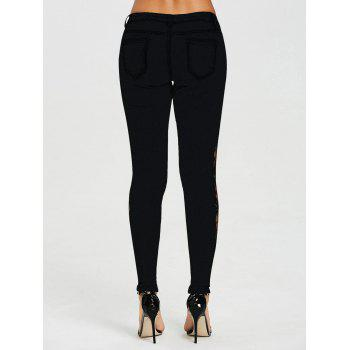 Flower Lace Insert Low Waist Jeans - BLACK L