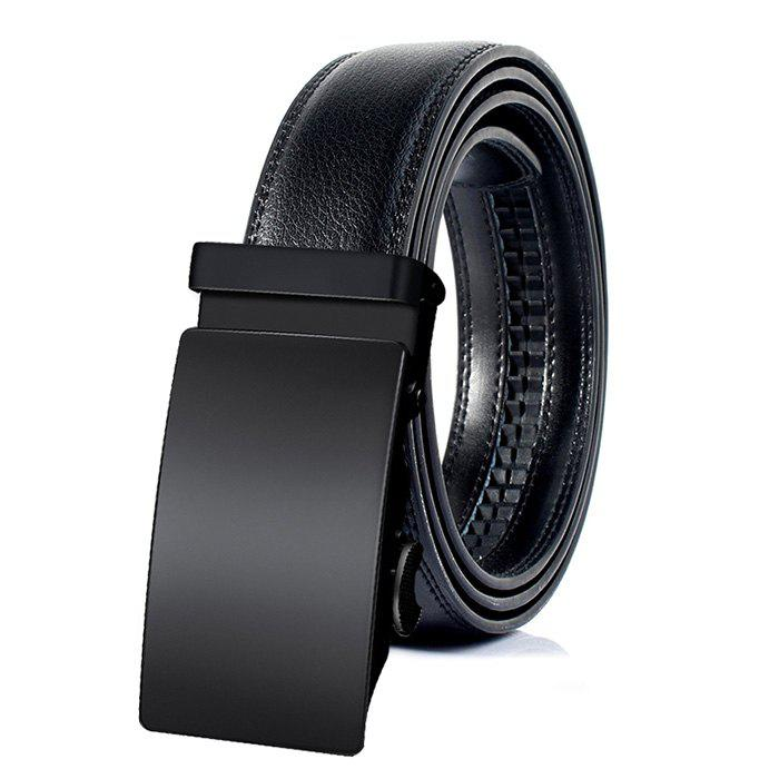 Vintage Faux Leather Automatic Buckle Business Formal Belt - BLACK 115CM