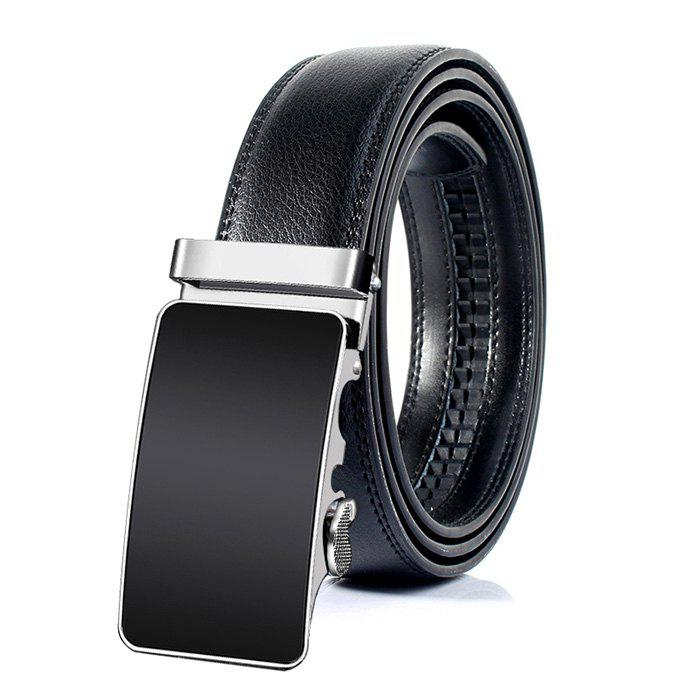 Metal Polished Buckle Decoration Artificial Leather Belt - BLACK 130CM