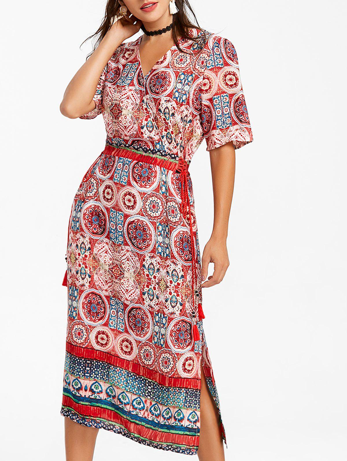 Bohemian Print Tea Length Surplice Dress - RED 2XL