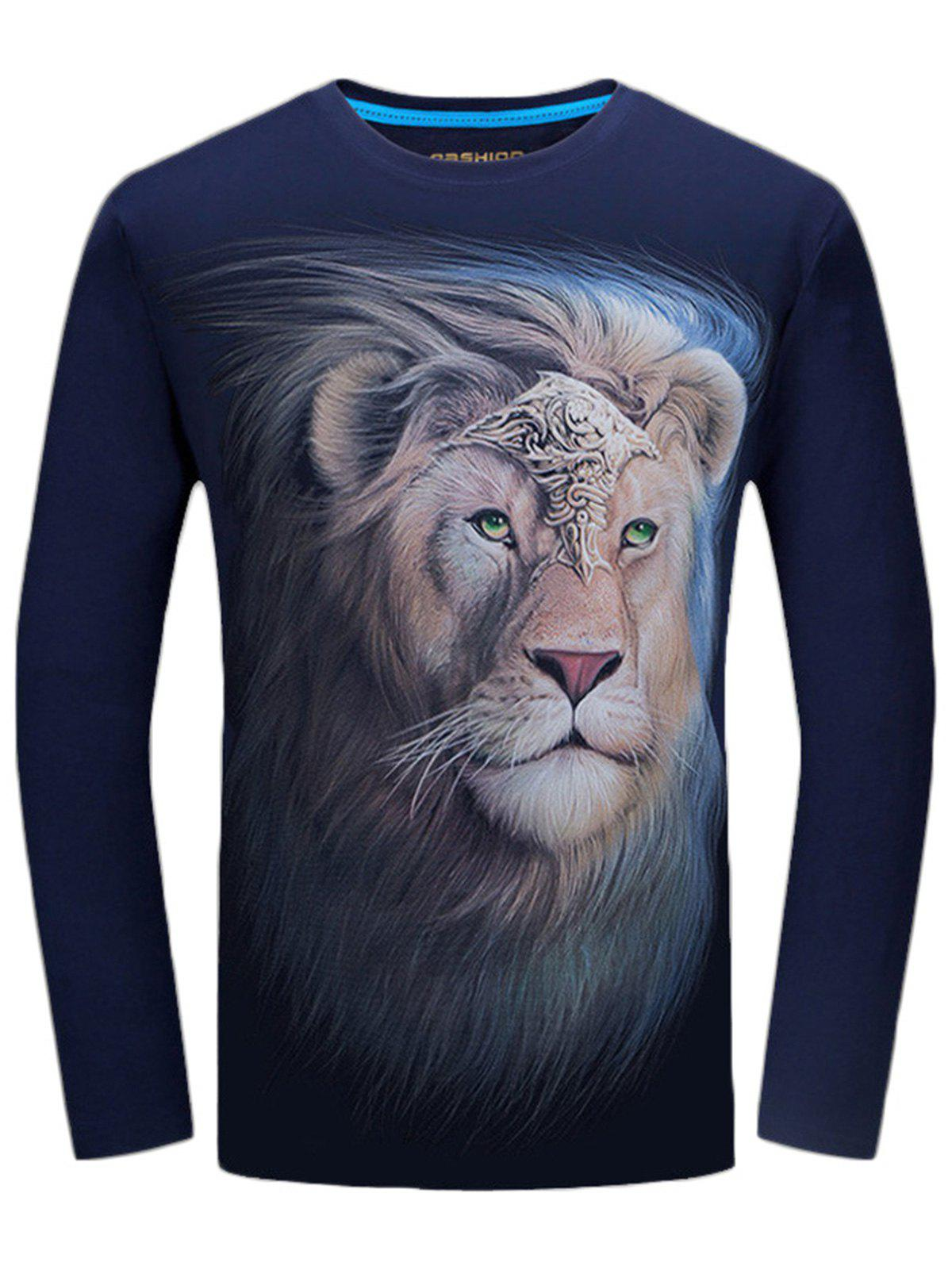 Long Sleeve Crew Neck Lion King Print Tee - MIDNIGHT BLUE 5XL