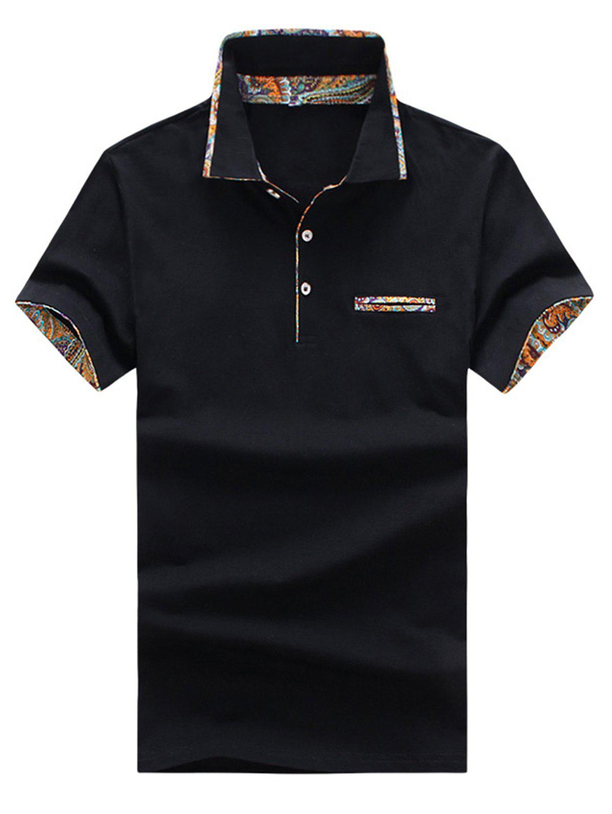 Short Sleeve Floral Splicing Slimming Polo Shirt - BLACK 2XL