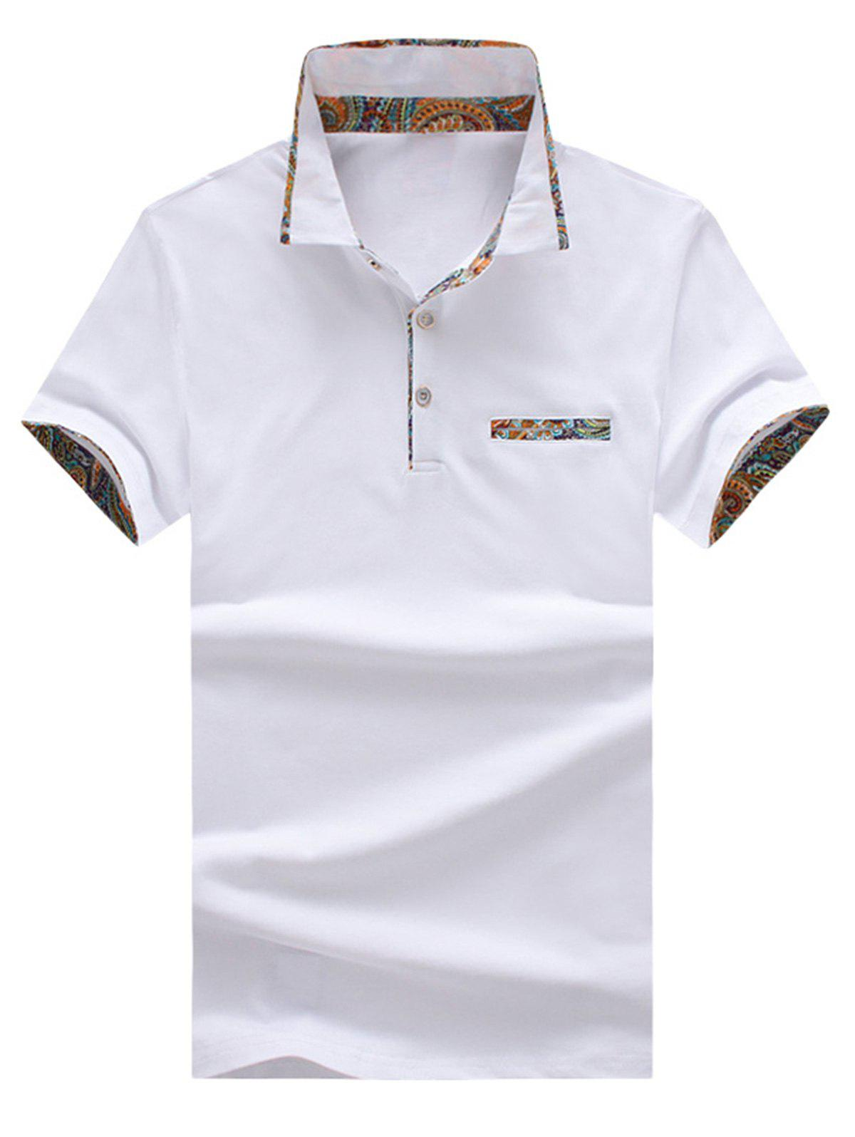 Short Sleeve Floral Splicing Slimming Polo Shirt - WHITE L