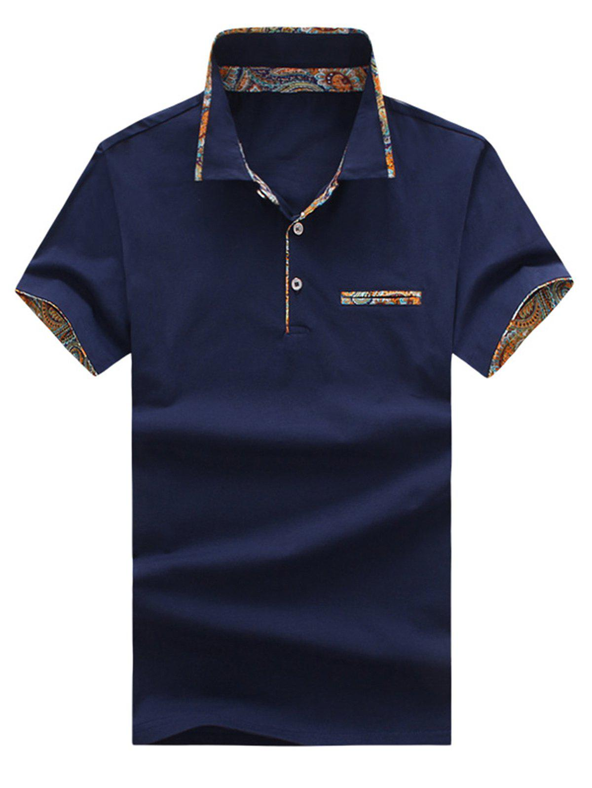Short Sleeve Floral Splicing Slimming Polo Shirt - DARK SLATE BLUE XL
