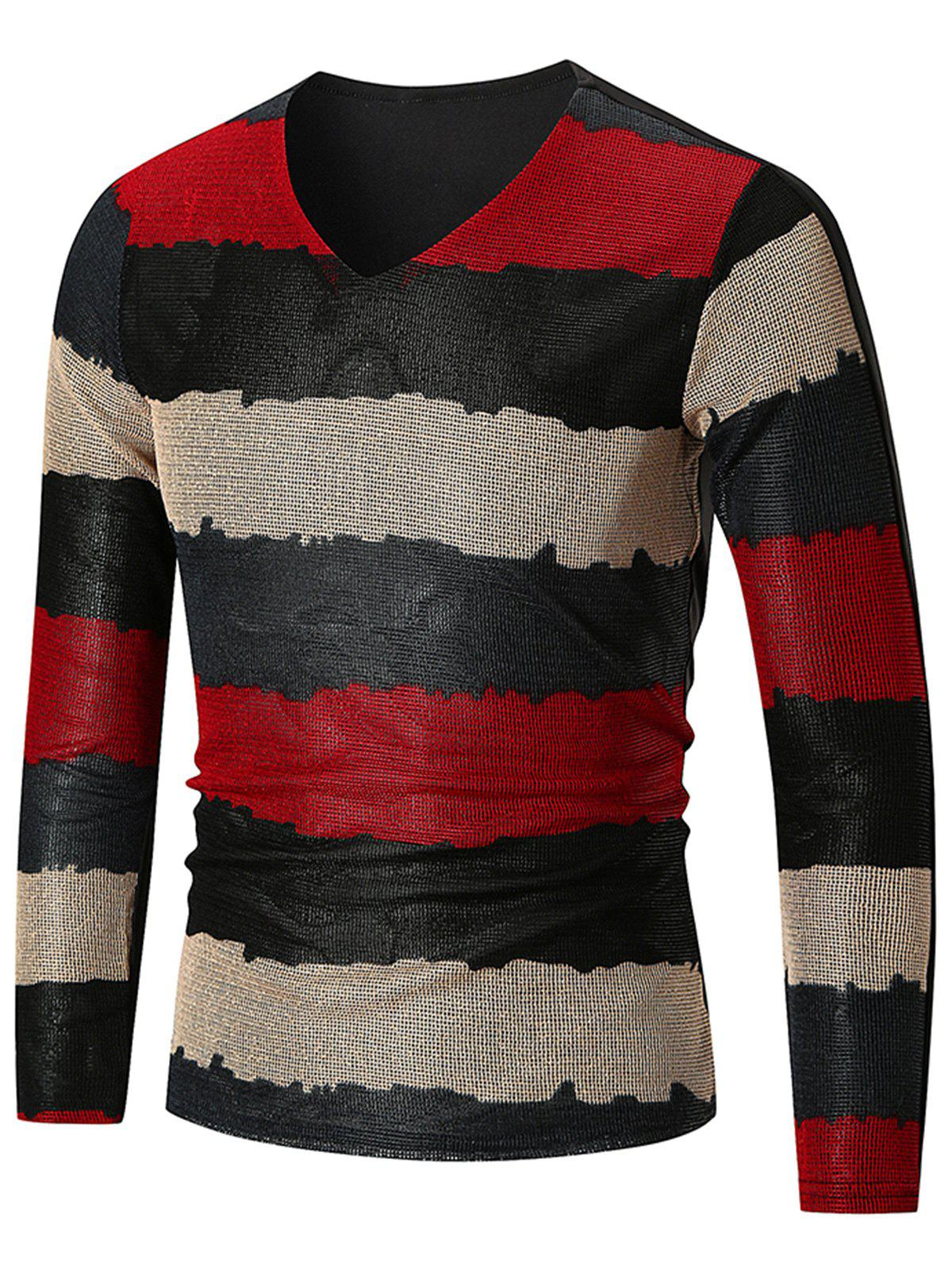 V Neck Wide Stripe Print Long Sleeve T-shirt - CHESTNUT RED 5XL