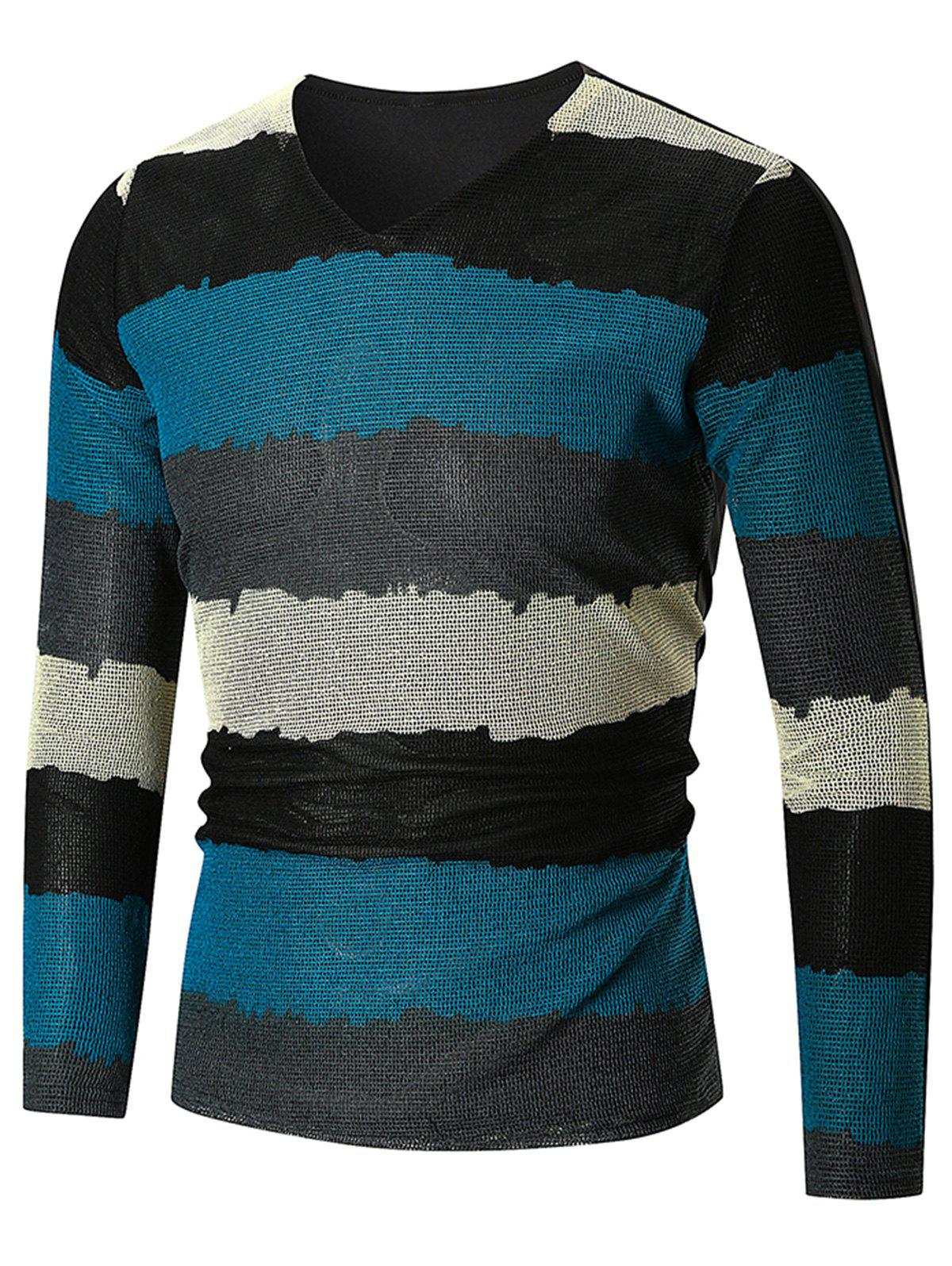 V Neck Wide Stripe Print Long Sleeve T-shirt - WINDOWS BLUE 3XL