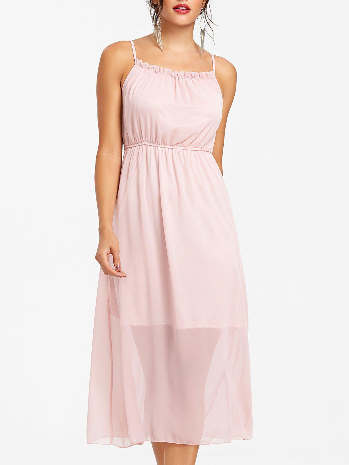 High Waisted Spaghetti Strap Chiffon Dress - PIG PINK S