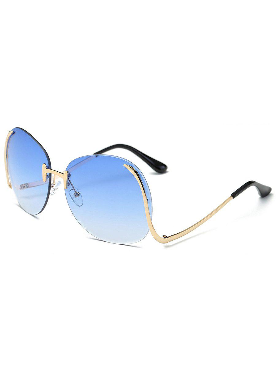 Retro Frameless Bent Leg Sun Shades Sunglasses - BLUE