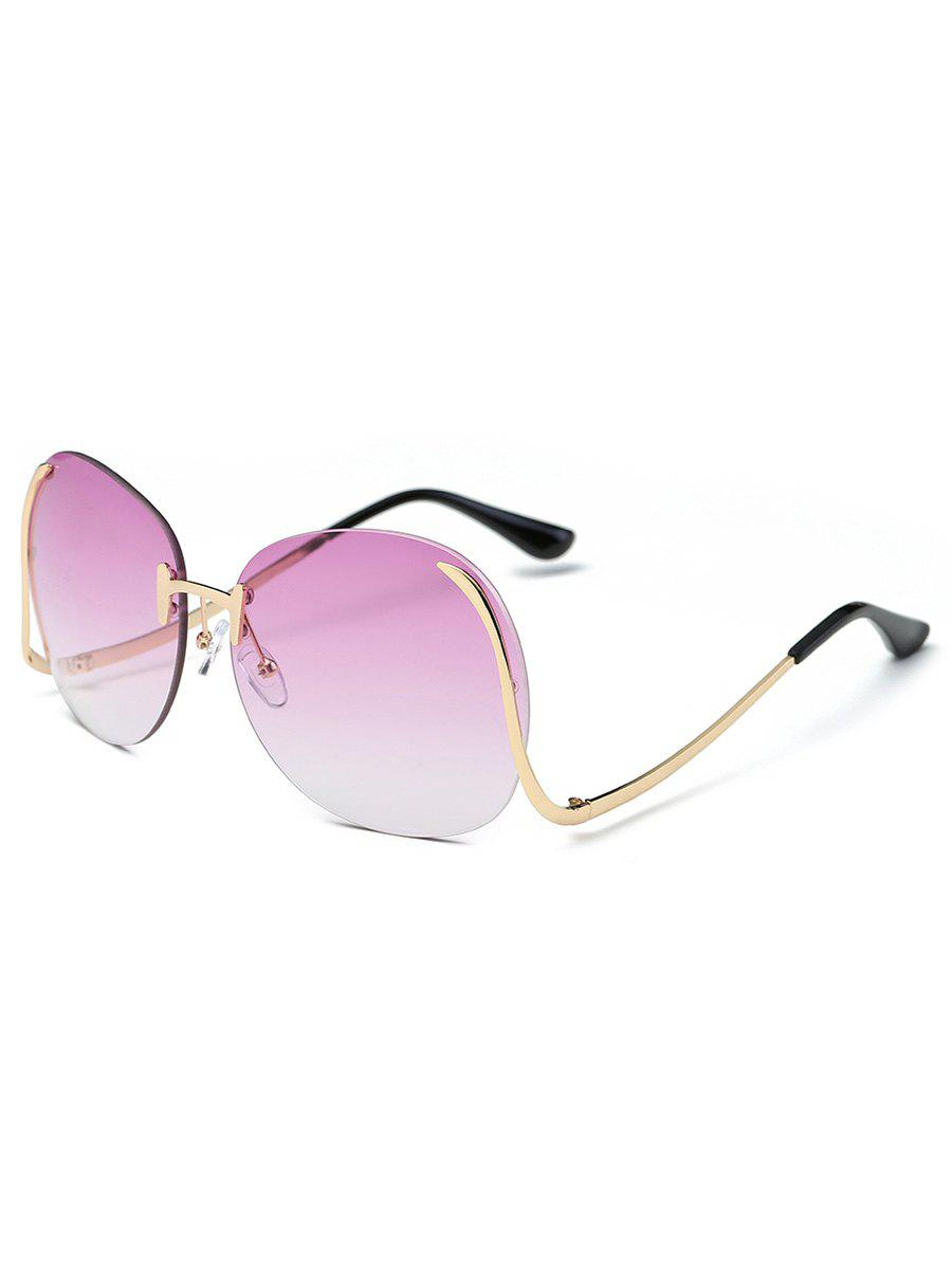 Retro Frameless Bent Leg Sun Shades Sunglasses - PLUM