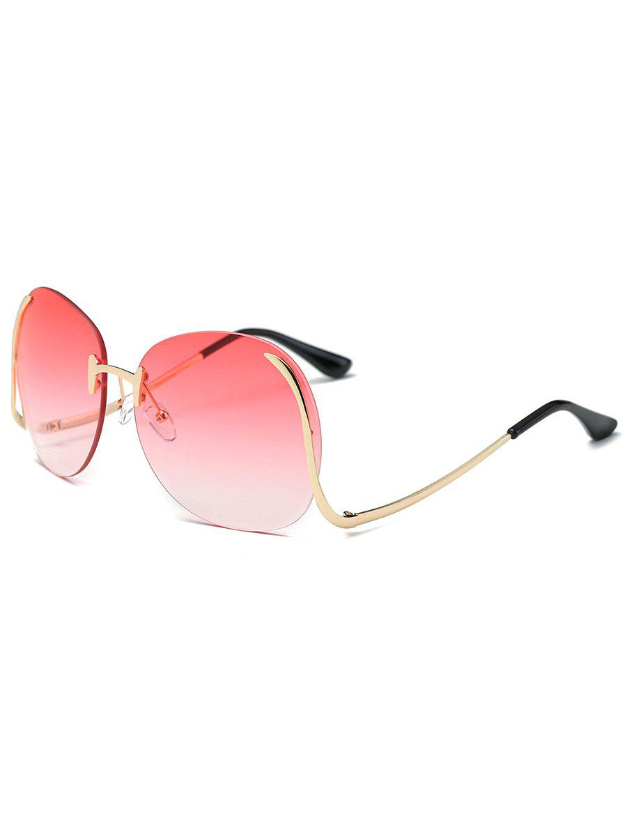 Retro Frameless Bent Leg Sun Shades Sunglasses - BEAN RED