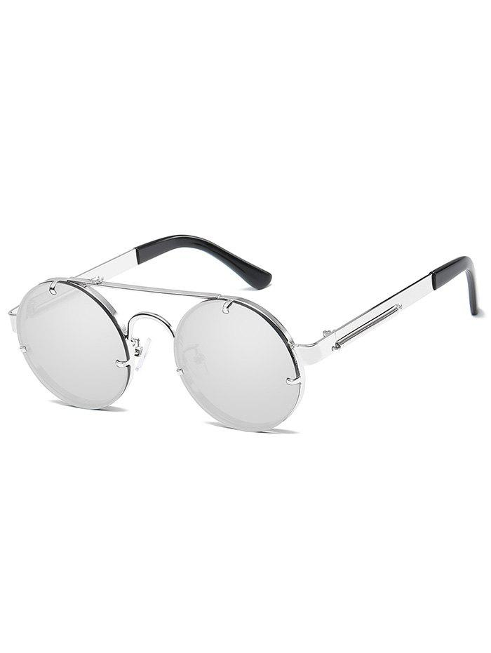 Anti UV Crossbar Decorated Round Sunglasses - SILVER FRAME / WHITE LENS