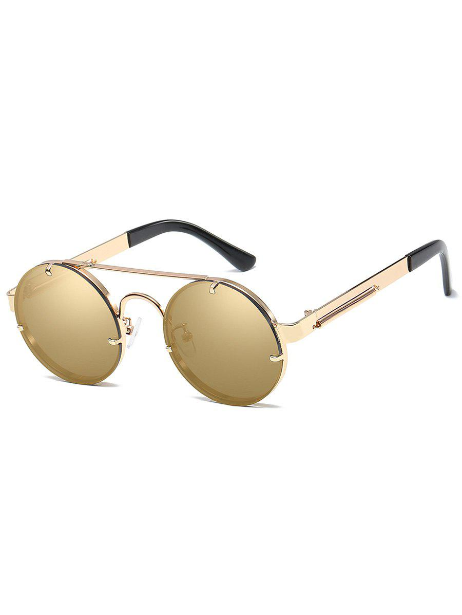 Anti UV Crossbar Decorated Round Sunglasses - GOLDEN/LUXURY GOLD COLOR