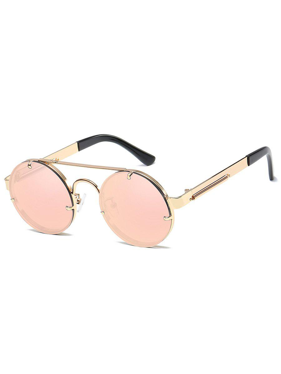 Anti UV Crossbar Decorated Round Sunglasses - GLOD FRAME / PINK LENS
