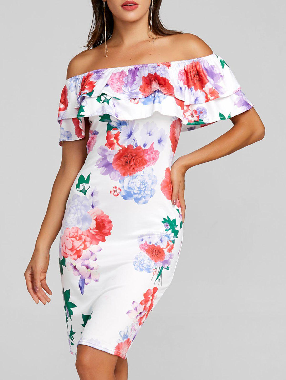 Off the Shoulder Floral Mini Bodycon Dress off the shoulder floral print bodycon dress