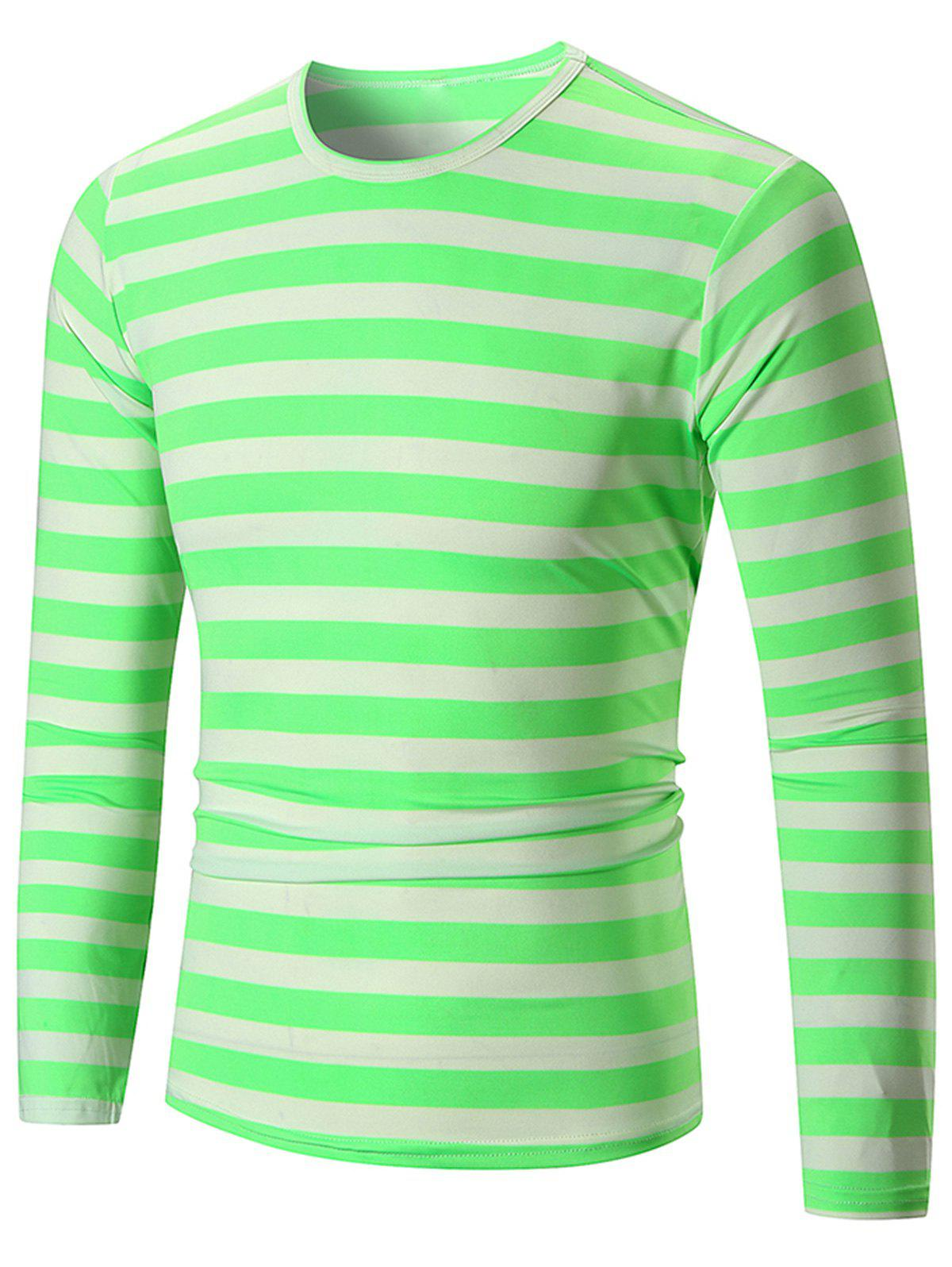 Crew Neck Striped Print T-shirt - STOPLIGHT GO GREEN L