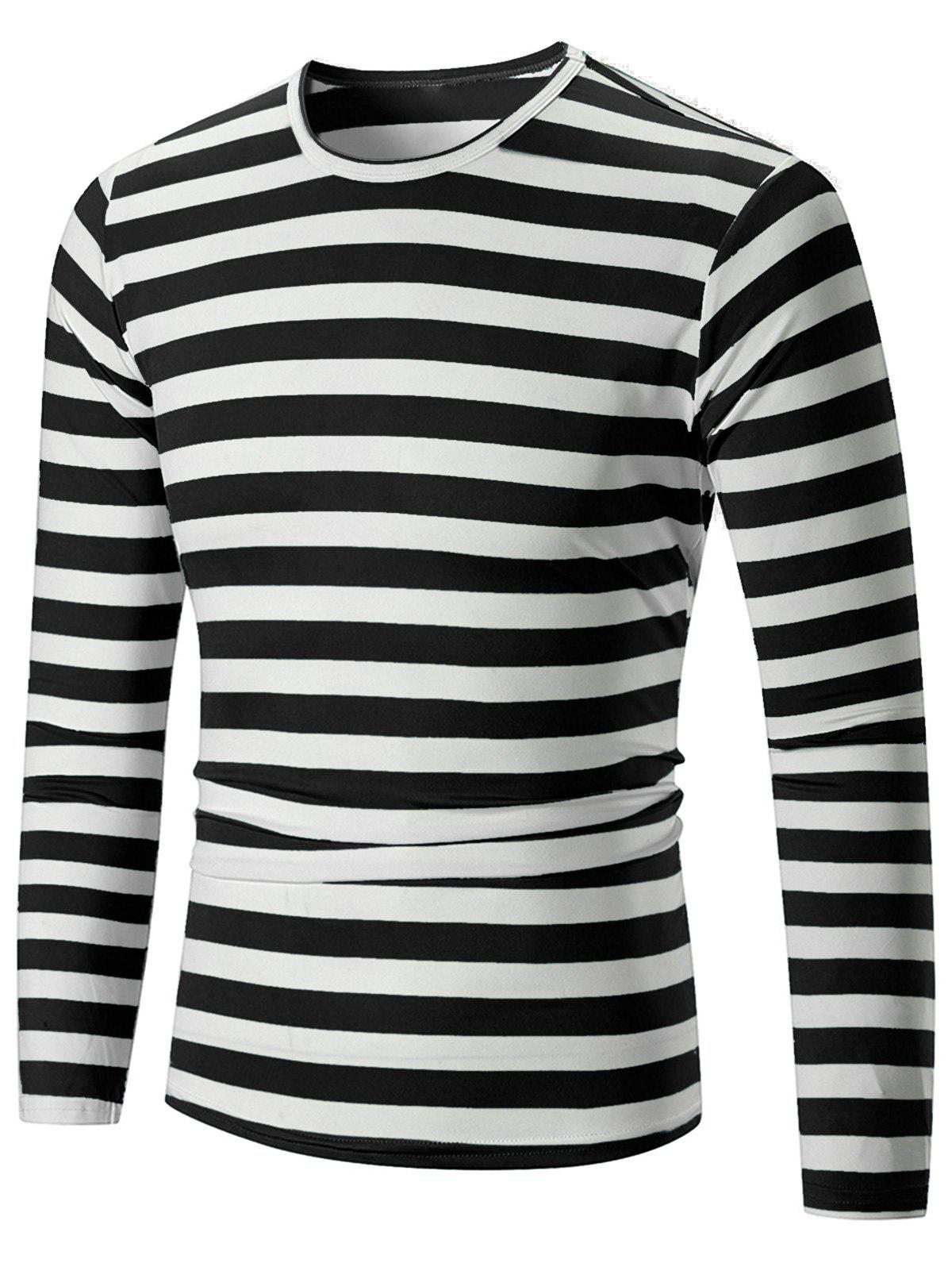 Crew Neck Striped Print T-shirt - BLACK L