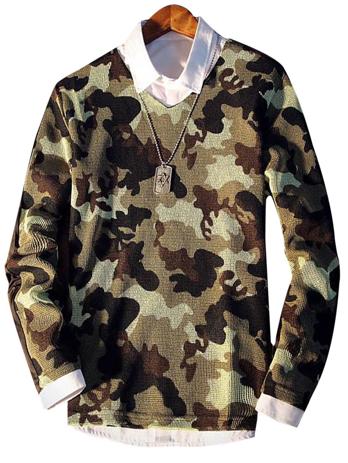 Long Sleeve Camo Pattern V Neck T-shirt - CAMOUFLAGE GREEN XL