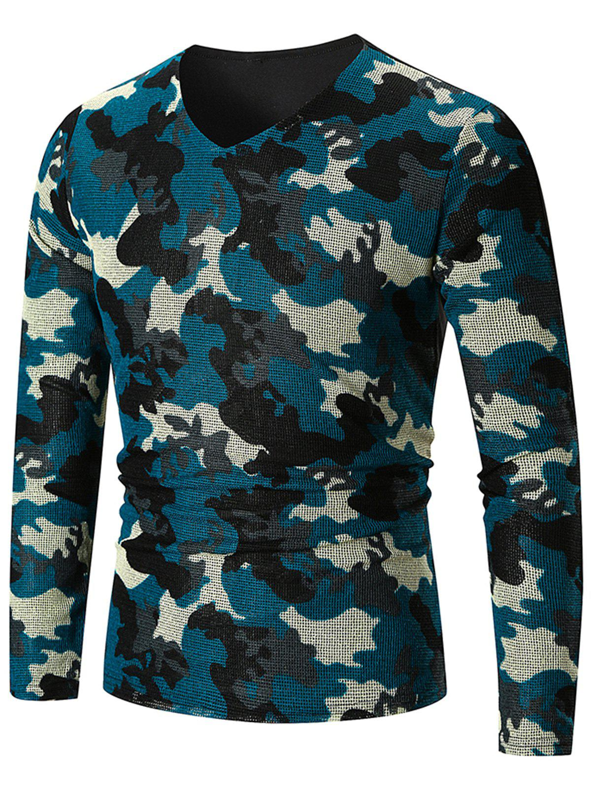 Long Sleeve Camo Pattern V Neck T-shirt - BLUE IVY 2XL