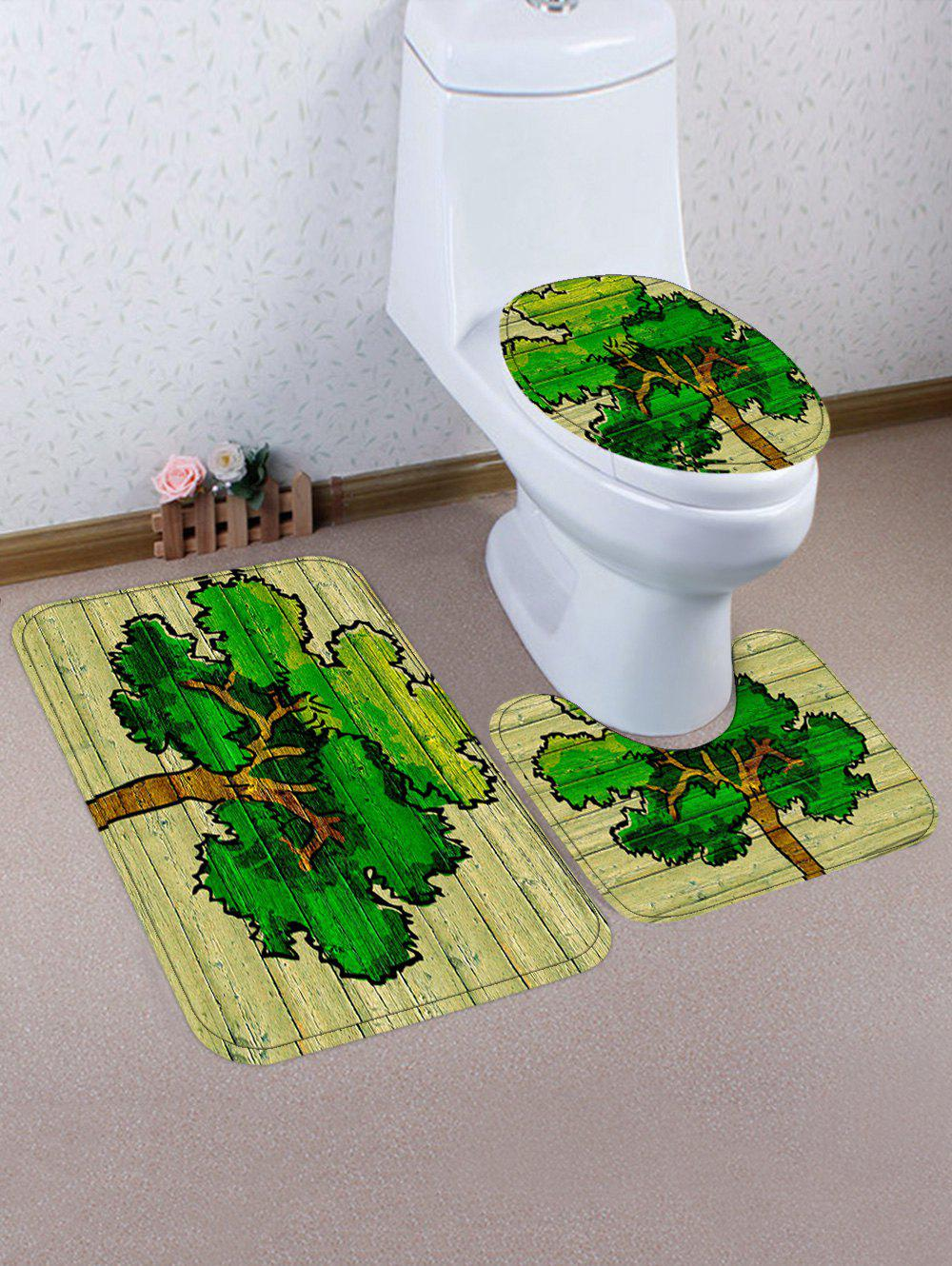 A Big Tree Print Flannel Toilet Rug Set - SPRING GREEN