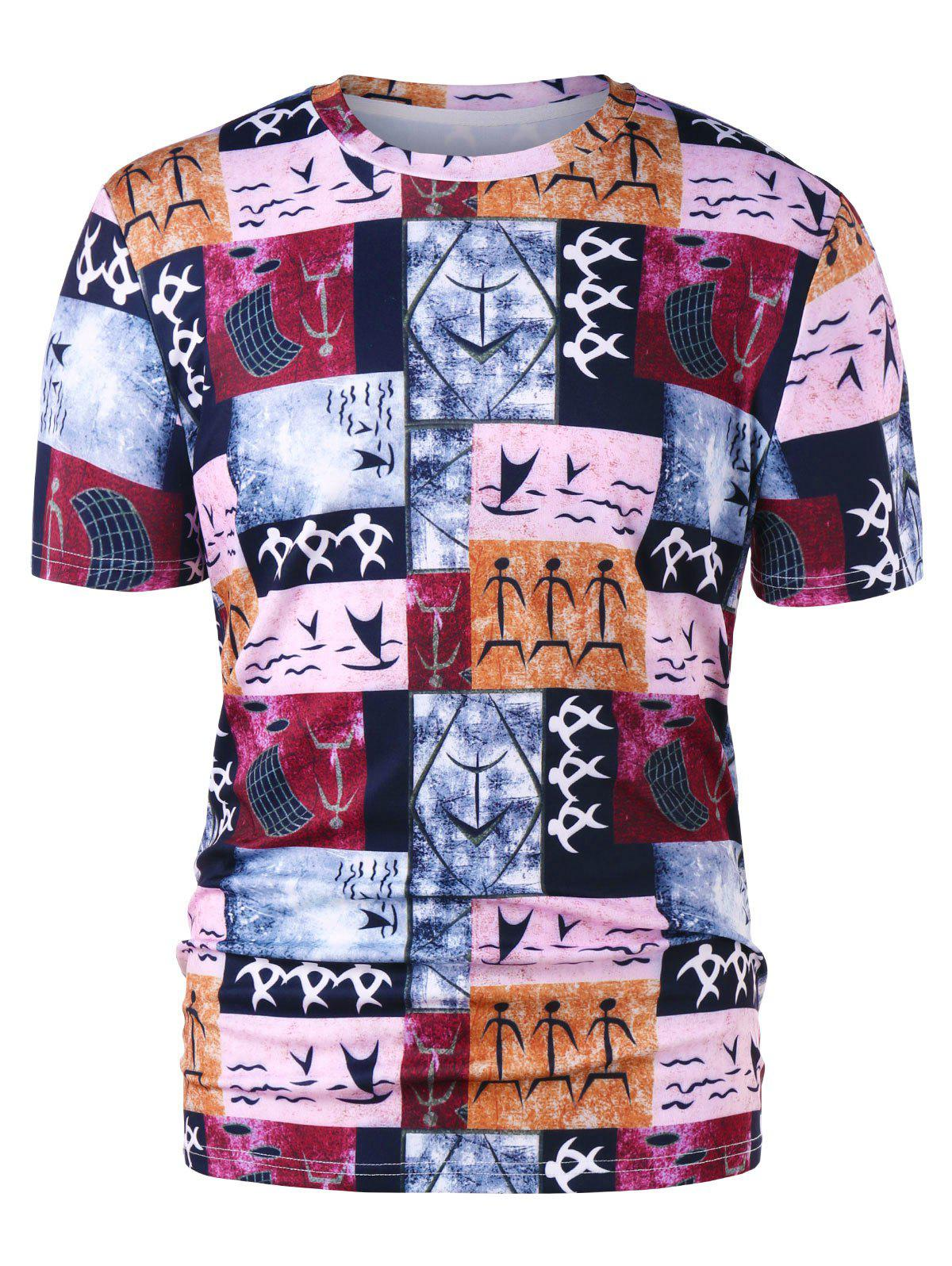 Crew Neck Warli Tribal Print T-shirt - COLORMIX M