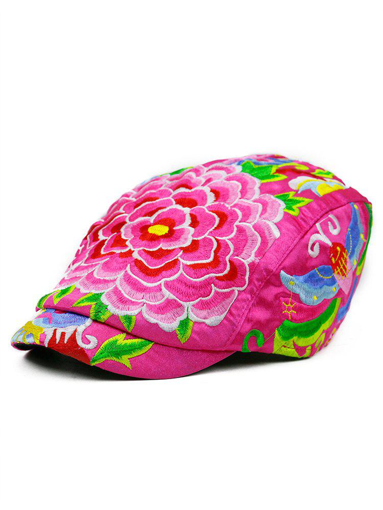 Flower Embroidered Ivy Hat - DIMORPHOTHECA MAGENTA