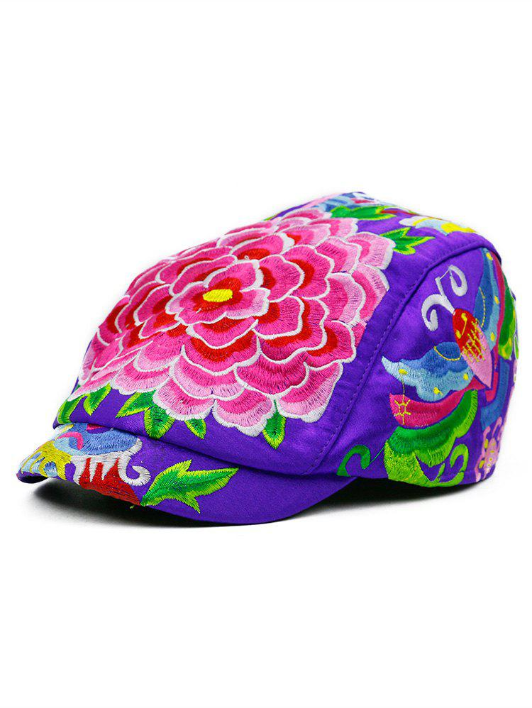 Flower Embroidered Ivy Hat - PURPLE