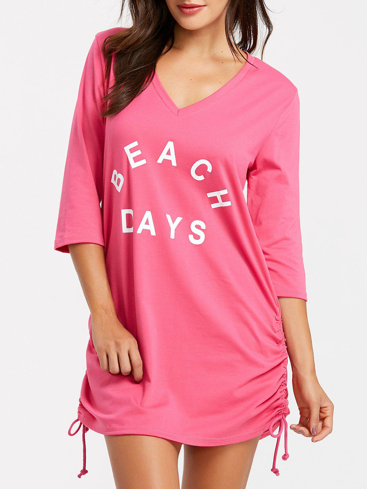 Short V Neck Cover Up Dress - ROSE RED M