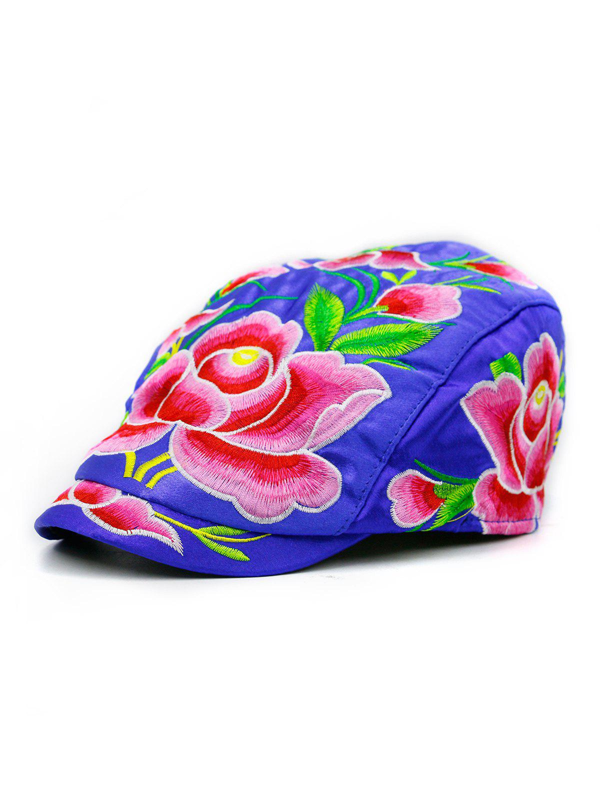 Lotus Flower Embroidered Ivy Hat - ROYAL BLUE