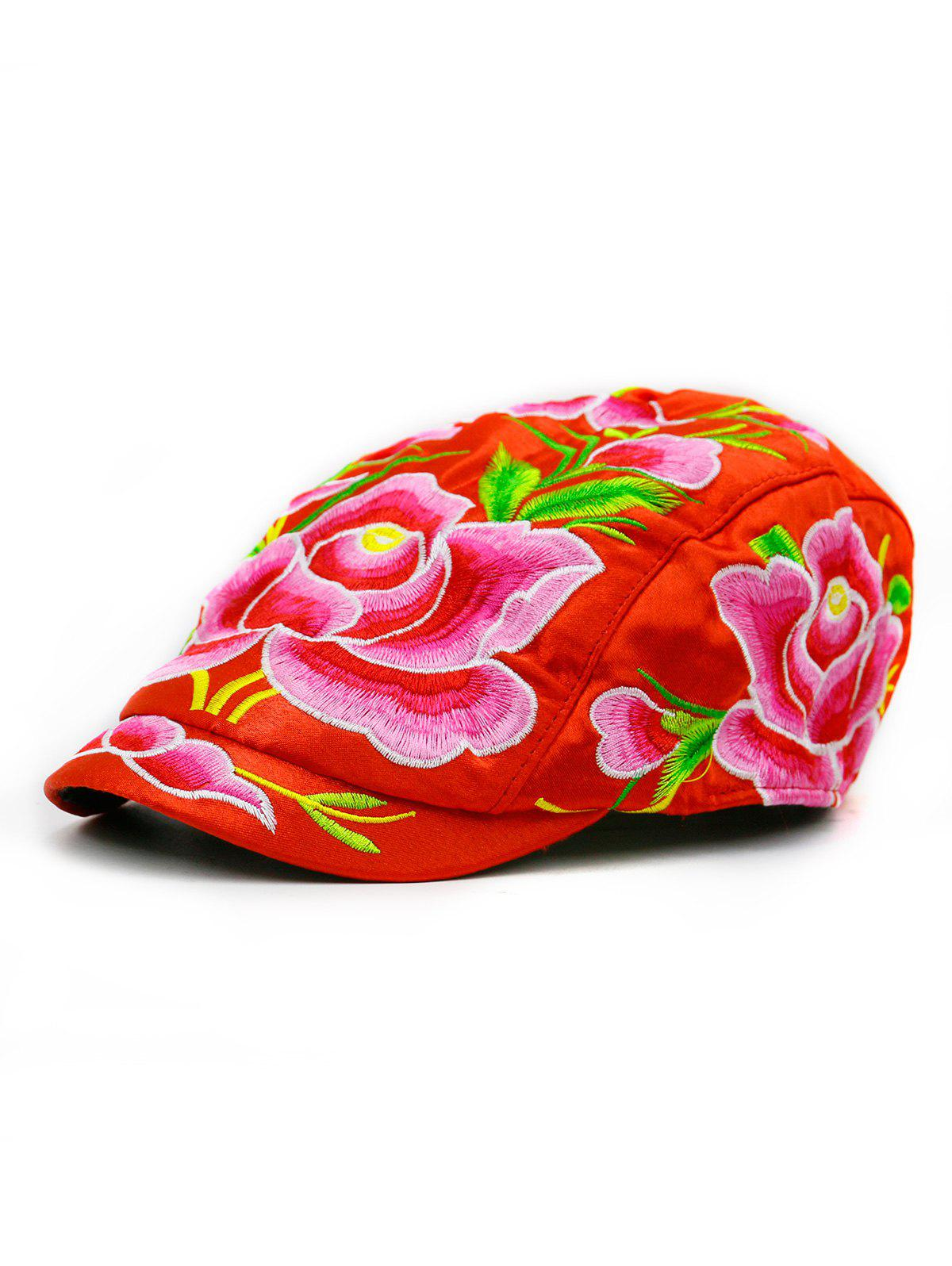 Lotus Flower Embroidered Ivy Hat - RED